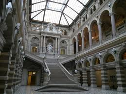Entrance hall of the Palace of Justice. The cafe is on the roof.