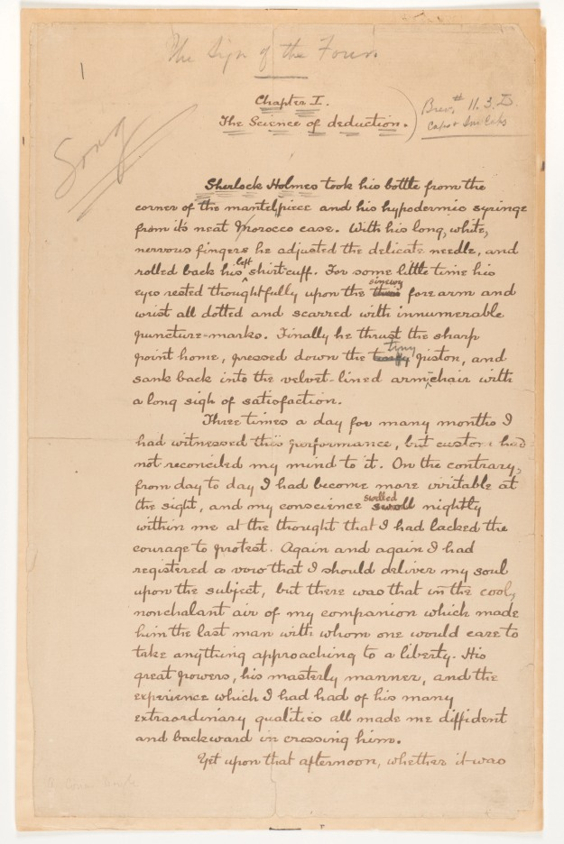The first manuscript page of 'The Sign of Four' by Arthur Co