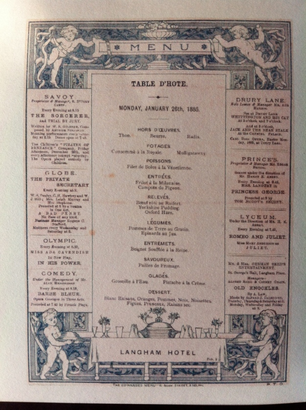 Original Victorian Langham menu... with ads...