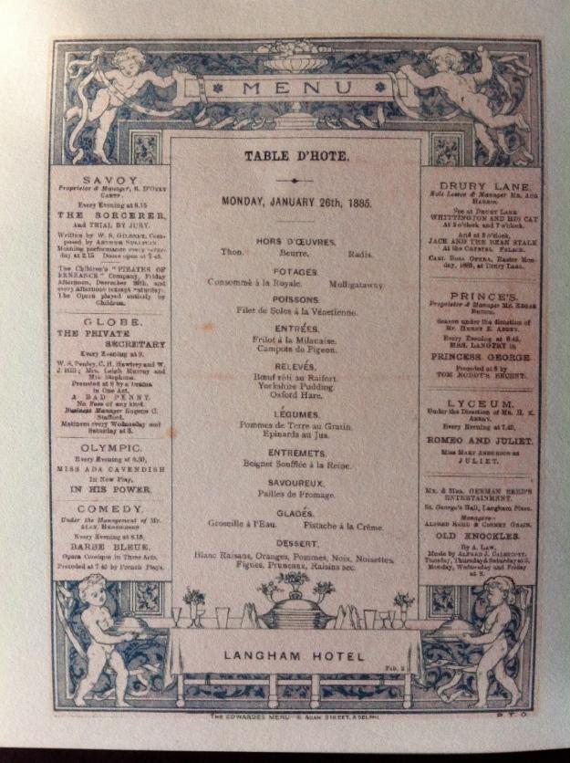 Original Victorian Langham menu... with ads...
