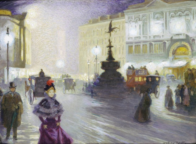 Ernest Dudley Heath, Piccadilly Circus at Night, 1893